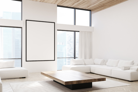 Side view of a white living room interior with two white sofas, a coffee table, large windows, a carpet and a poster. 3d rendering mock up Stock Photo