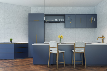 prestige: Gray tiled kitchen with a wooden floor, a dark blue bar stand with white chairs and dark blue countertops and consoles. 3d rendering mock up