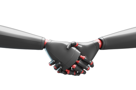 Close up of two gray cyborgs shaking hands. Concept of the future and new technologies. 3d rendering mock up