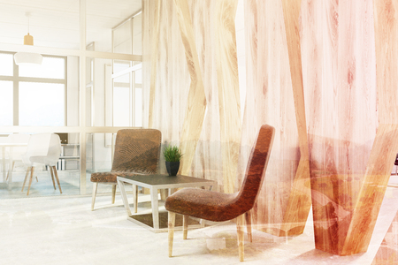 Two brown armchairs are standing near a coffee table in a modern office lobby with an abstract wooden wall pattern. Close up. 3d rendering mock up toned image double exposure