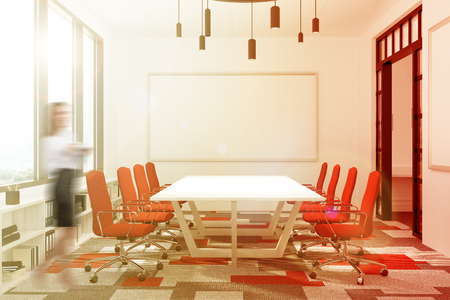 Meeting room interior with a gray and red carpet, a long white table and two rows of chairs. There is a whiteboard and a panoramic window. Wman 3d rendering mock up toned image