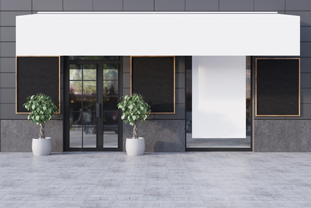 wooden post: Gray cafe exterior with a glass door, three blackboards, a vertical poster and a place for a chain name. 3d rendering mock up