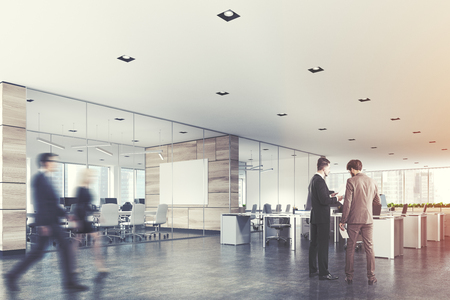 Two conference rooms with glass and wooden walls and an open space open office area. A poster, business people. 3d rendering mock up toned image Stock Photo