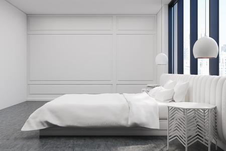 콘크리트 바닥이있는 흰색 침실 인테리어, 흰색 덮개가있는 커다란 침대와 커다란 창문. 3 차원 렌더링 조롱