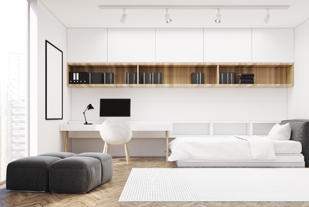 bedspread: White bedroom interior with a wooden floor, a single bed and a computer table with a bookcase near it. Soft gray wall and a poster. Side view. 3d rendering mock up