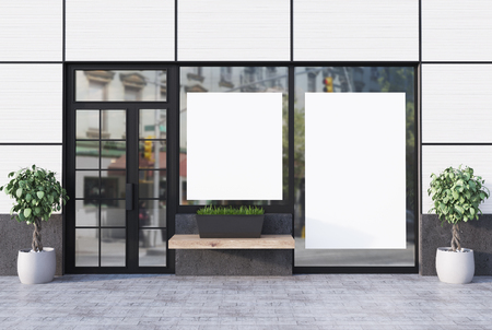 White cafe exterior with a glass door and two different shape posters in windows. 3d rendering mock up