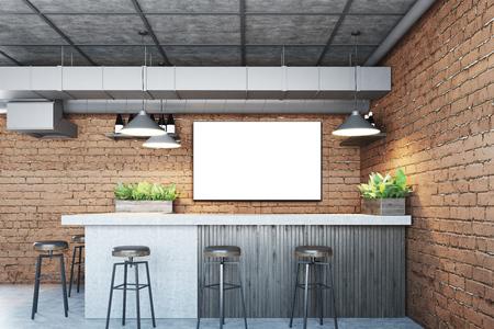콘크리트 바닥, 대리석 및 나무 막대기 스탠드와 검은 색 의자가있는 벽돌 바 내부. 벽에 포스터입니다. 3 차원 렌더링 조롱