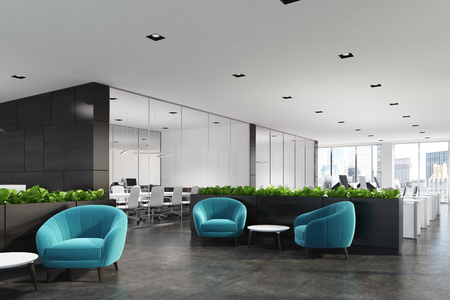 파란색 안락의 자, 커피 테이블, 유리 벽 사무실 및 꽃 침대와 영역을 기다리고 현대 사무실의 측면보기. 3 차원 렌더링 조롱