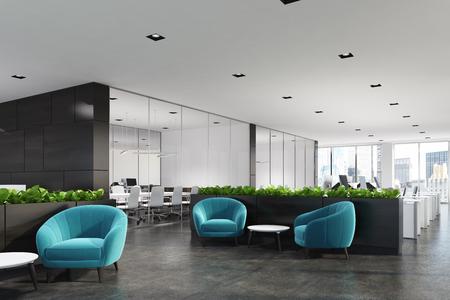 Zijaanzicht van een moderne kantoor wachtruimte met blauwe fauteuils, een salontafel, glazen muur kantoren en een bloem bed. 3D-rendering mock up