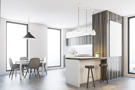 Brick Gehobene Küche Interieur Mit Einem Dunklen Betonboden Und Eine ...