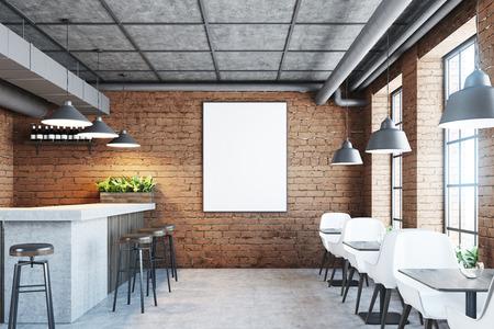 콘크리트 바닥, 대리석 및 나무 막대기 스탠드, 검은 색 의자 및 나무 테이블이있는 벽돌 카페 및 바 내부. 벽에 포스터입니다. 3 차원 렌더링 조롱 스톡 콘텐츠