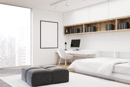 Blanco interior del dormitorio con un piso de hormigón, una cama individual y una mesa de ordenador con estantes sobre ella. Un póster. Representación 3d simular Foto de archivo