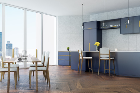 prestige: Gray tiled kitchen with panoramic windows, a wooden floor, a dining table with white chairs and dark blue countertops and consoles. 3d rendering mock up
