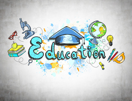 Colorful education sketch with a microscope, a globe, books and school supplies is drawn on a concrete wall. Concept of knowledge.