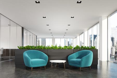 현대 사무실 파란색 안락의 자, 커피 테이블, 유리 벽 사무실 및 꽃 침대 대기 영역. 3 차원 렌더링 조롱 스톡 콘텐츠