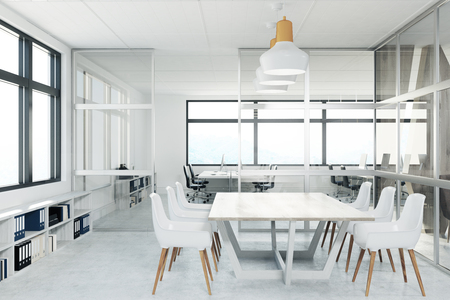 Front view of a conference room with glass walls, a long white table and white office chairs. 3d rendering mock up