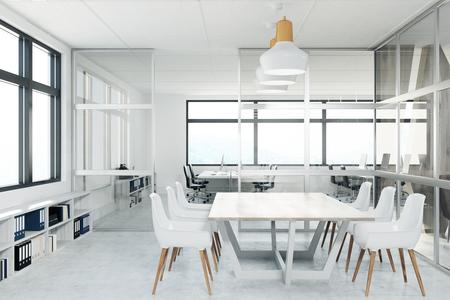 Vooraanzicht van een conferentieruimte met glasmuren, een lange witte lijst en witte bureaustoelen. 3D-rendering mock up