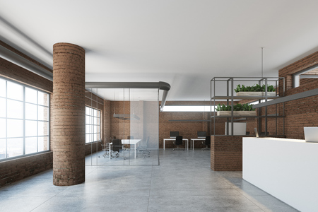Superieur Modern Office Interior With A White Reception Counter, Brick Walls And  Columns, Large Windows
