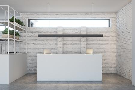 두 개의 노트북이있는 흰색 리셉션 테이블은 좁은 가로 창 아래에 흰색 벽돌 벽면 사무실 로비에 서 있습니다. 3 차원 렌더링 조롱