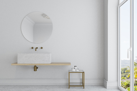 White bathroom interior with a large window, a concrete floor and an angular marble sink with a round mirror above it. 3d rendering mock up