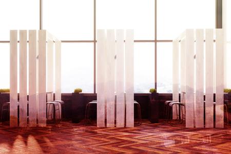 Lange Smalle Tafel : Loft café interieur met een houten vloer paneelwanden elementen