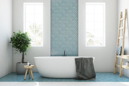 White and blue bathroom interior with a round white tub, two narrow windows, a tree in a pot and a ladder in a corner. Close up 3d rendering mock up