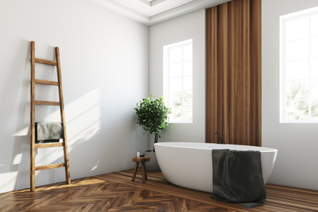White and wooden bathroom, white tub corner