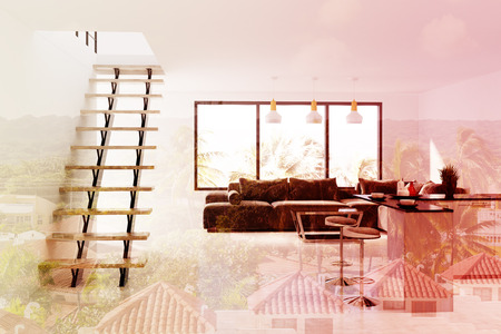 second floor: White living room interior with a panoramic window, a long black sofa, a bar with stools near it and stairs to the second floor. 3d rendering mock up toned image double exposure