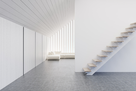 penthouse: Attic room interior with white and wooden walls, stairs, a concrete floor and a soft white sofa in the background. 3d rendering mock up