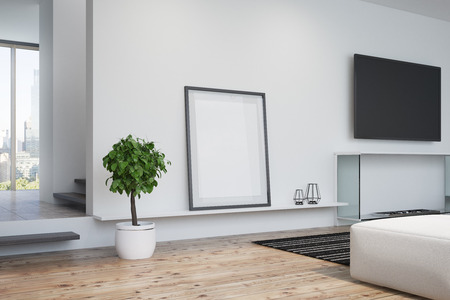 contemporary living room: White living room interior with a wooden floor a framed poster, a decorative fireplace and a plasma TV on a wall. Side view. 3d rendering mock up