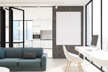 contemporary living room: White living room interior with a panoramic window, a long gray sofa, a bookcase and a computer table. A kitchen is seen in the background. A poster. 3d rendering mock up Stock Photo