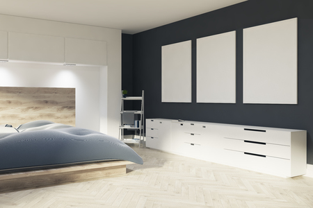 bedroom design: Master bedroom interior with a wooden bed, gray and beige bedding, three posters hanging on a black wall and a ladder near a closet. 3d rendering mock up Stock Photo