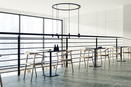 atmosphere: Second floor of a loft cafe interior with a wooden floor, black square tables and white chairs. Original ceiling lamps. Side view. 3d rendering mock up