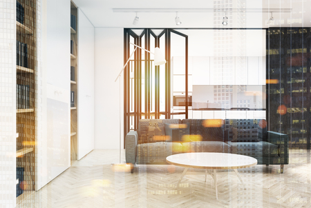 two: White living room interior with a panoramic window, a long gray sofa and two bookcases. A kitchen is seen in the background. 3d rendering mock up toned image double exposure