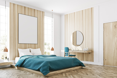 Corner of a white and wooden bedroom interior with a wooden floor, a large window, a blue bed and two bedside tables. A cabinet with mirrors. 3d rendering mock up