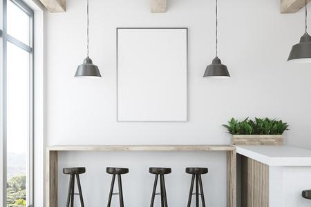Wit barbinnenland met een houten bartribune, een rij van donkere houten stoelen en een ontworpen verticaal poster op een muur. Sluit omhoog 3d teruggevende spot omhoog