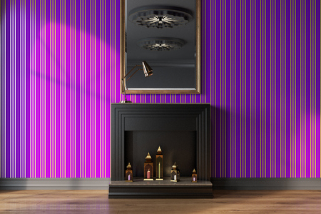 Purple Living Room Interior With A Black Decorative Fireplace, Candles And  A Mirror On A