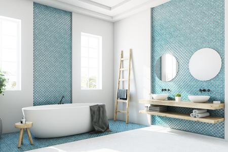 Weißer und blauer Badezimmerinnenraum mit einer runden weißen Badewanne, zwei schmalen Fenstern, einem Baum im Topf und einer Leiter in einer Ecke. Seitenansicht. Mock der Wiedergabe 3d oben Standard-Bild - 86473392