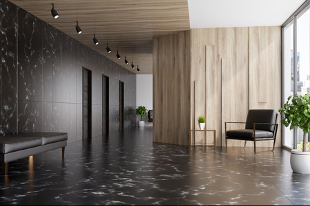 Black marble and wooden elevator hall in an office with a panoramic window. There are three black doors in the wall and a brown armchair. 3d rendering mock up