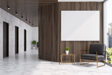 White marble and dark wooden elevator hall in an office with a panoramic window. There are three black doors in the wall and a brown armchair. A poster. 3d rendering mock up toned image