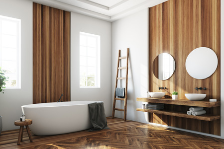 White and wooden bathroom interior with a wooden floor, a white tub, a tree in a pot, two narrow windows and a ladder. Side view 3d rendering mock up