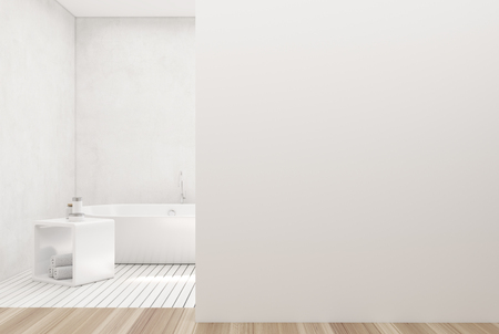 White bathroom interior with a white wooden floor, a white tub, a shelf for towels and a white wall fragment. 3d rendering mock up