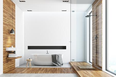 Interno del bagno bianco e in legno con pavimento in legno, alte finestre, vasca rotonda bianca, lavabo angolare e angolo doccia in vetro. Rendering 3d mock up