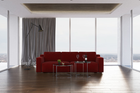 Loft living room interior with a wooden floor, a dark red sofa and two glass round tables. 3d rendering