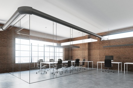 Brick open space office interior with white tables and chairs standing along the walls. A meeting room. Side view. 3d rendering mock up