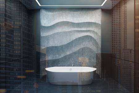 Black panel bathroom interior with a concrete floor, a white tub, a concrete wavy decoration element on a wall. 3d rendering mock up toned image double exposure