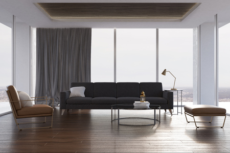 Loft living room interior with concrete walls, a wooden floor, a gray sofa, a round table and a beige armchair. 3d rendering