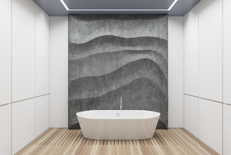 White panel bathroom interior with a wooden floor, a white tub, a concrete wavy decoration element on a wall. 3d rendering mock up Stock Photo