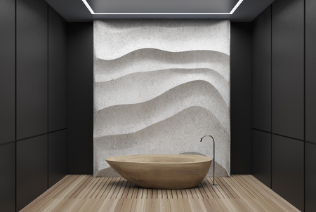 Black panel bathroom interior with a wooden floor, a wooden tub, a concrete wavy decoration element on a wall. 3d rendering mock up