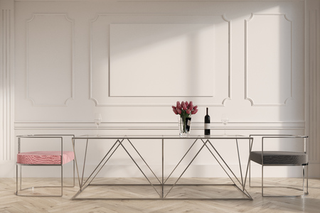Elegant dining room interior with a wooden floor, a glass table and pink and gray chairs. A horizontal poster. 3d rendering mock up
